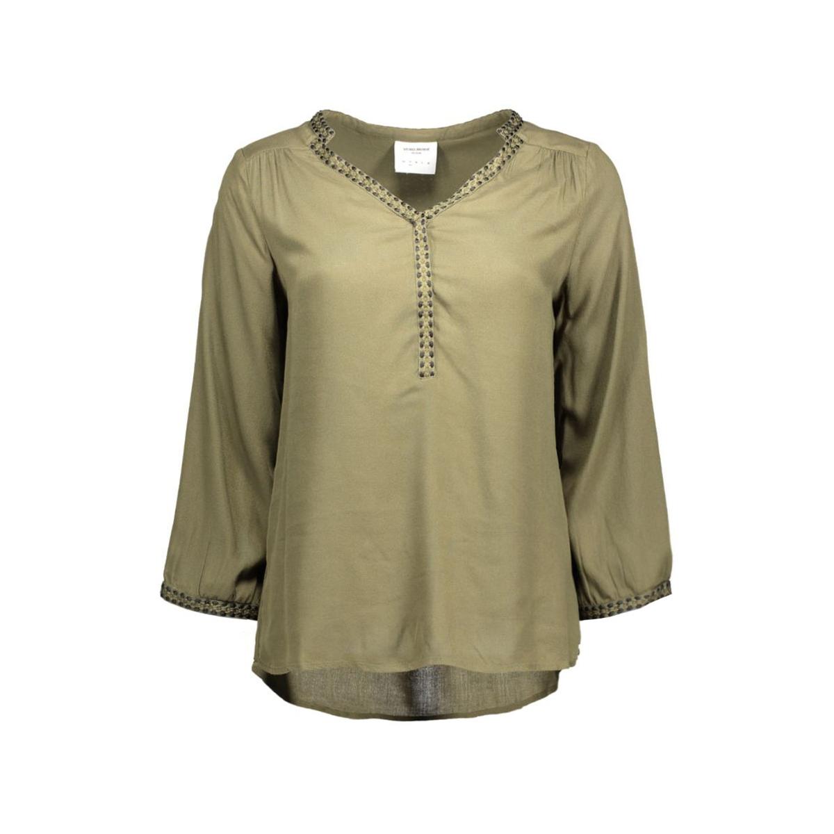 vmcharlotte 3/4 top dnm 10161642 vero moda blouse ivy green/black tape