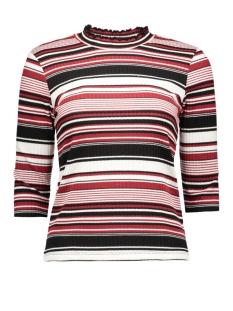 onlpiska 3/4 stripe  top jrs only t-shirt cloud dancer/syrah comb