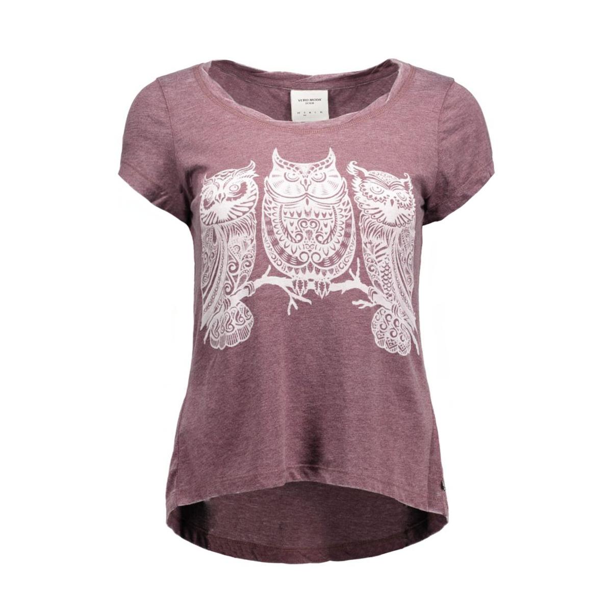 vmmoog molly animal ss top box dnm 10162155 vero moda t-shirt decadent choco/melange w