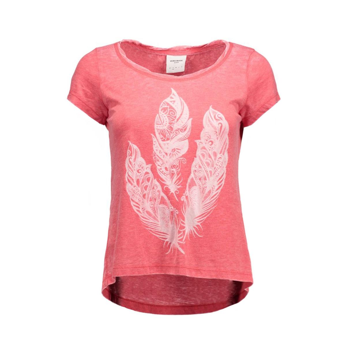 vmmoog molly animal ss top box dnm 10162155 vero moda t-shirt scarlet/melange w