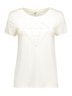 Only T-shirt onlALICE S/S DIAMOND TOP ESS 15126996 Cloud Dancer/DIAMOND