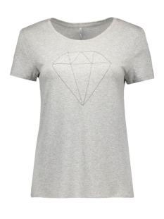 Only T-shirt onlALICE S/S DIAMOND TOP ESS 15126996 Light Grey Mel/DIAMOND