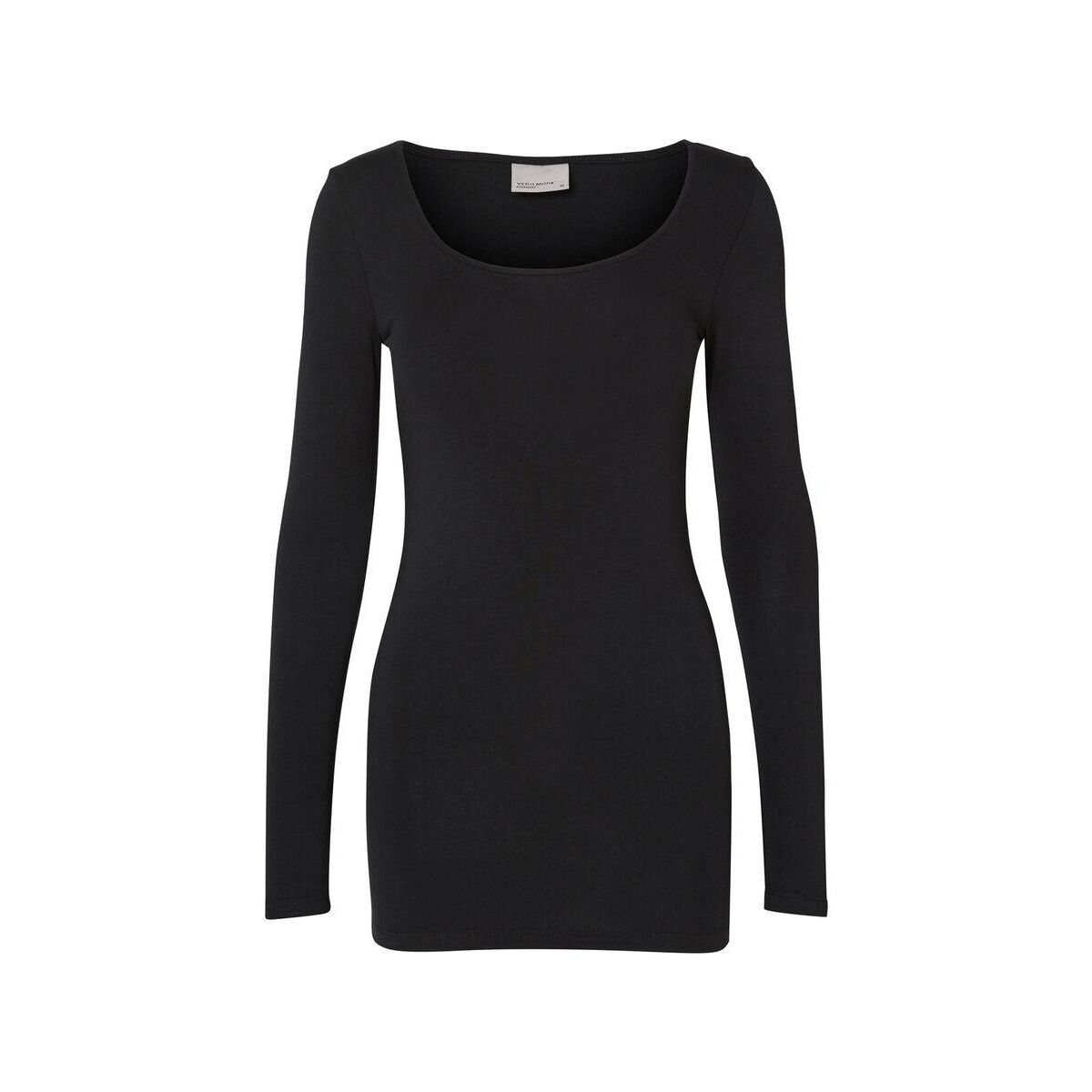vmmaxi my ls soft long u-neck noos 10152908 vero moda t-shirt black