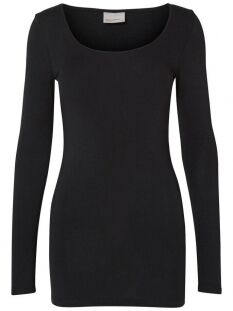 Vero Moda T-shirt VMMAXI MY LS SOFT LONG U-NECK NOOS 10152908 Black