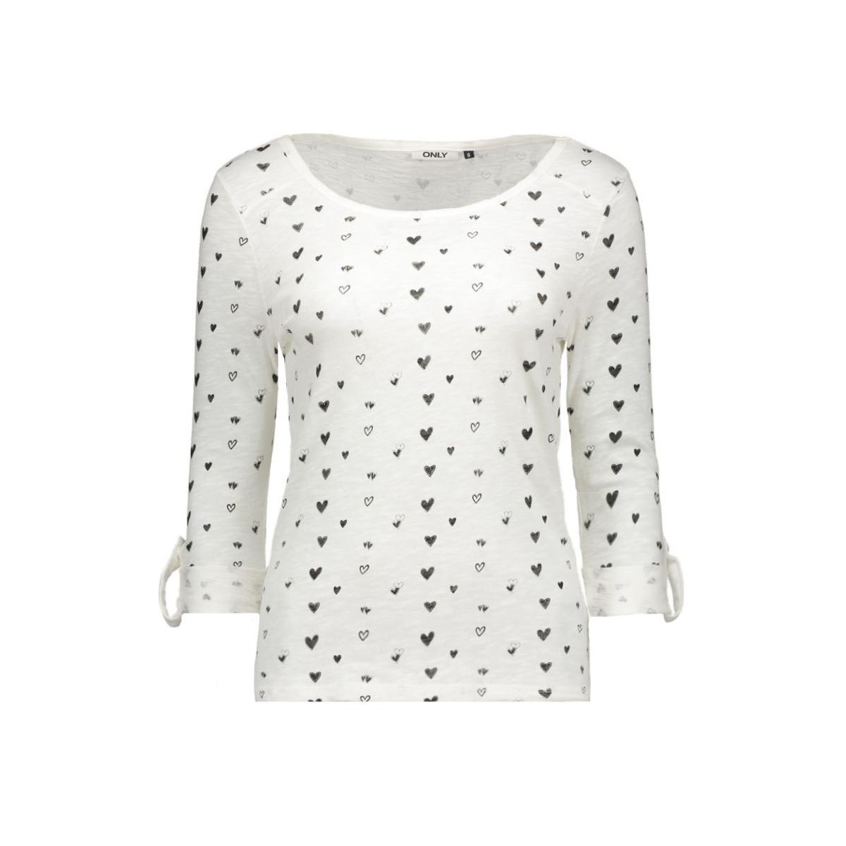 onljess 3/4 anna top box  jrs 15133905 only t-shirt cloud dancer/hearts