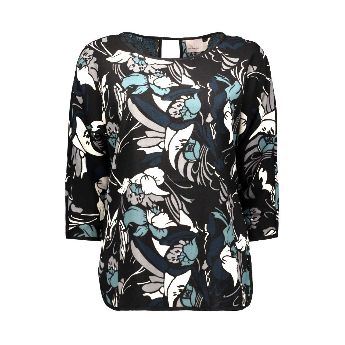 vmrebec 3/4 top 10170490 vero moda t-shirt black/blauwe bloem