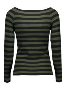 vmyenge new l/s striped top lcs 10170078 vero moda t-shirt kombu green/black