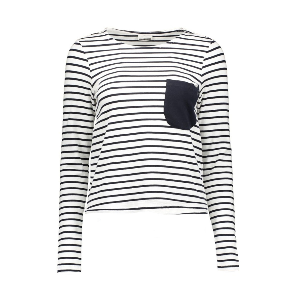 nmavery l/s short top 10167638 noisy may t-shirt bright white/navy