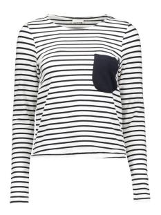 Noisy may T-shirt NMAVERY L/S SHORT TOP 10167638 bright white/navy