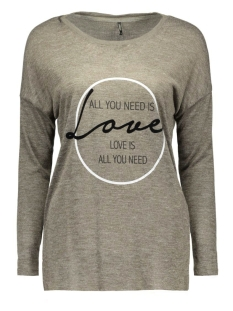 Only T-shirt onlSOMEDAY L/S TOP BOX ESS 15125929 Tarmac/LOVE