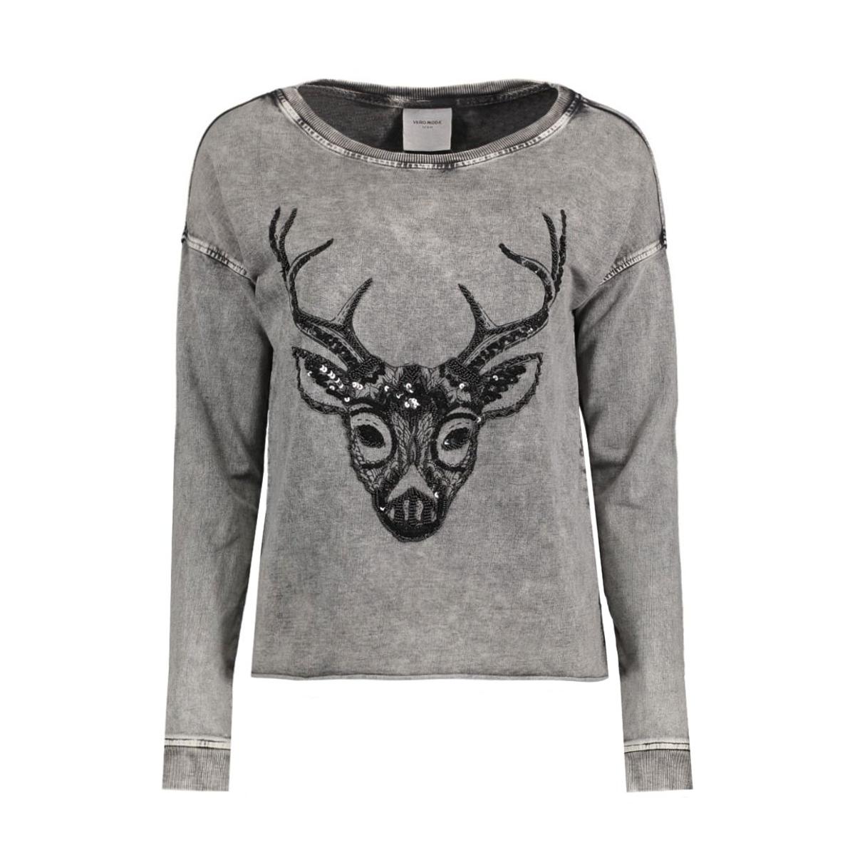vmmelinda deer ls sweat box dnm swt 10164595 vero moda sweater black/acid wash