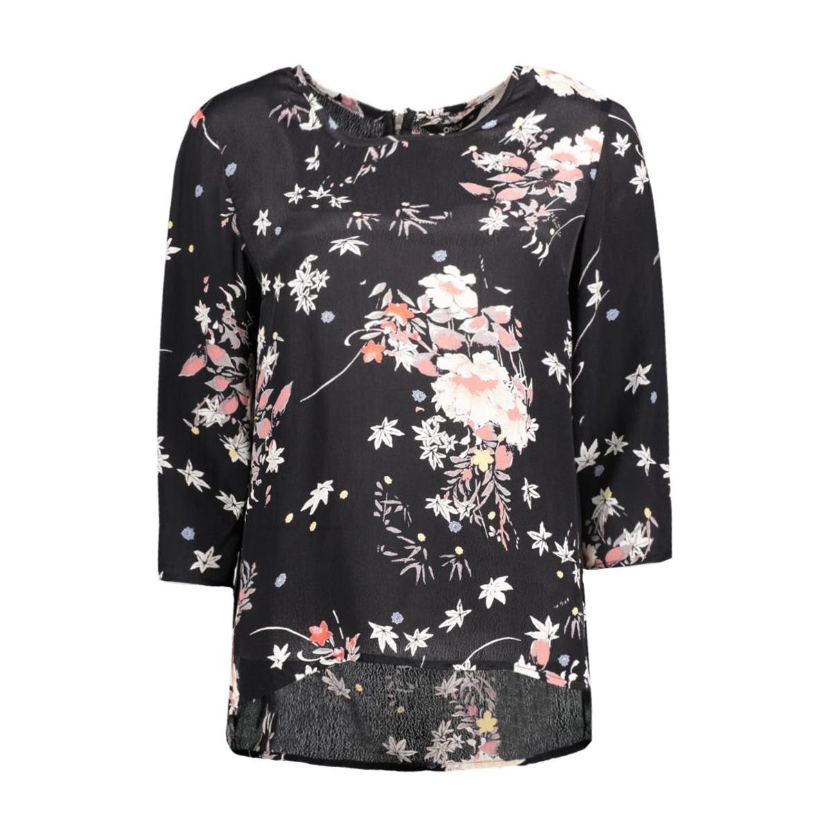 onlcinnamon 3/4 aop top wvn 15124306 only blouse black/rock flower