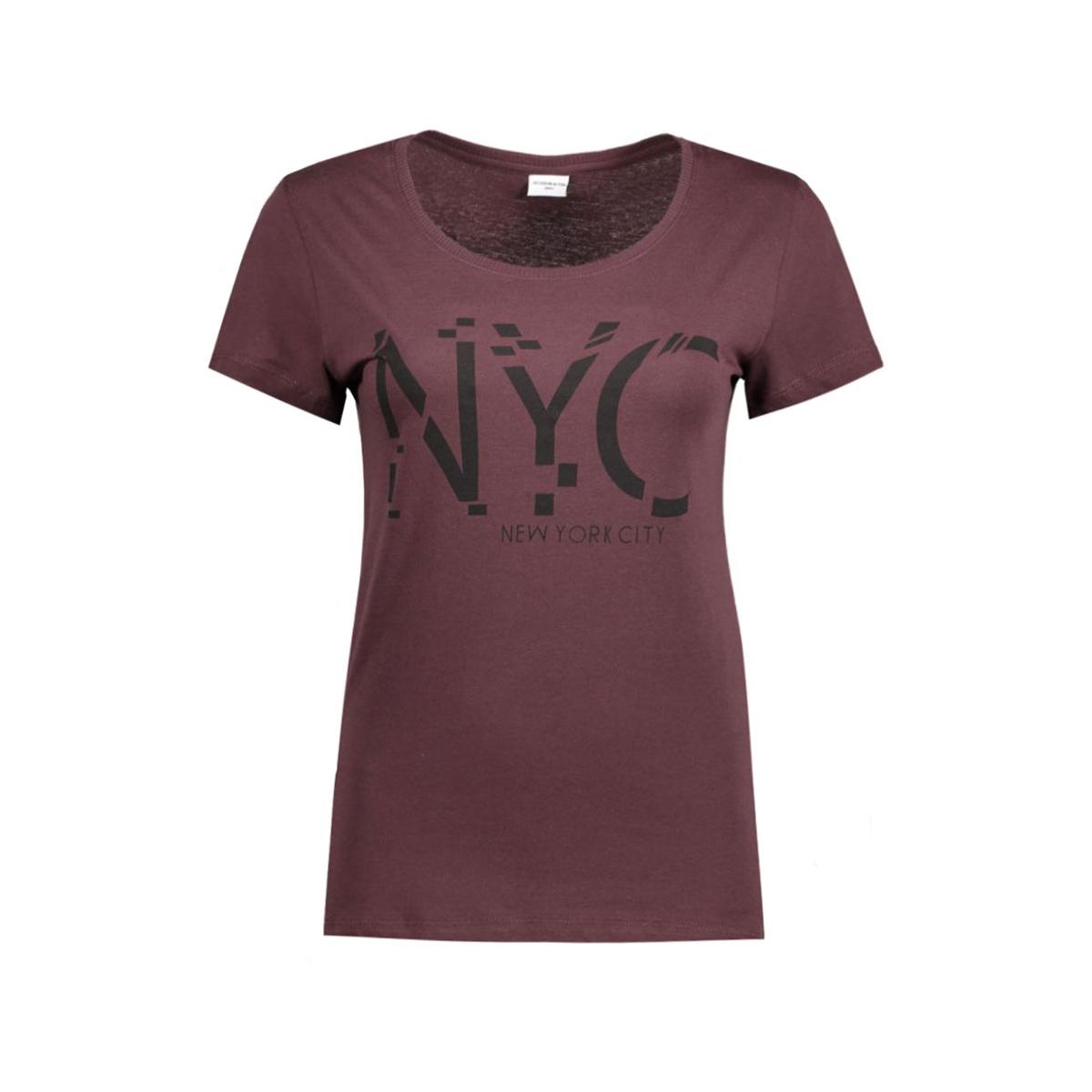 jdygin s/s print top jrs 09 15122948 jacqueline de yong t-shirt fudge/black