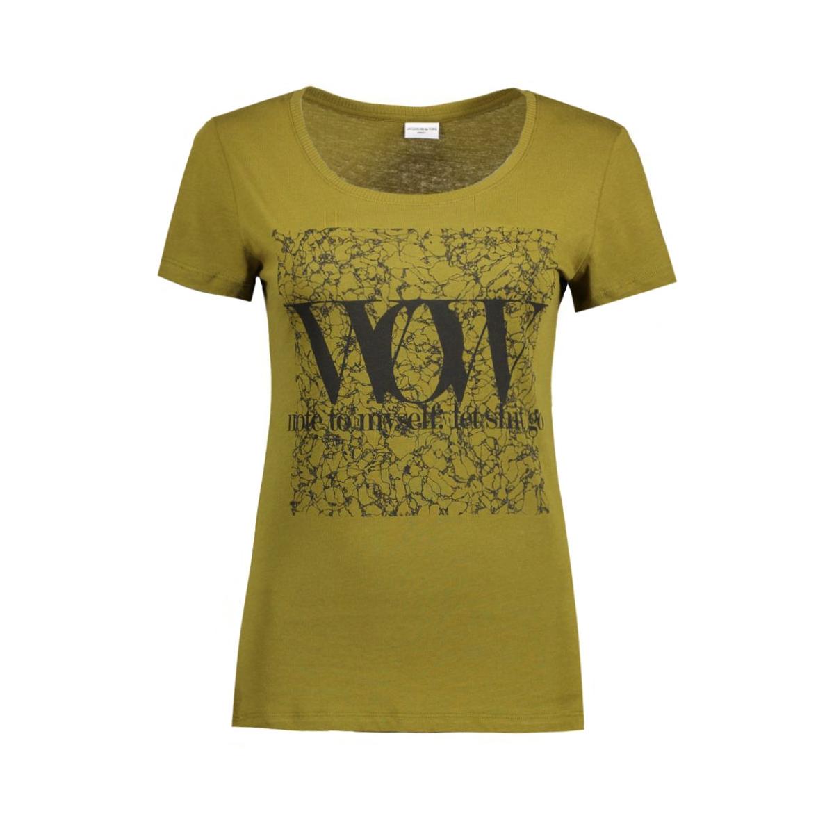 jdygin s/s print top jrs 09 15122948 jacqueline de yong t-shirt fir green/black wow