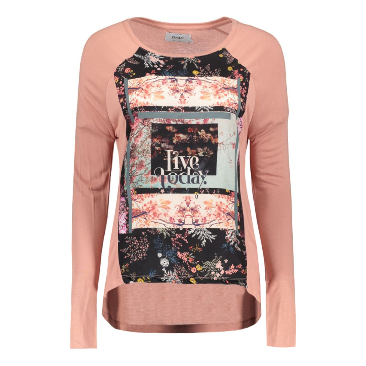 onlwander l/s photo top box jrs 15126882 only t-shirt ash rose/wanderflor