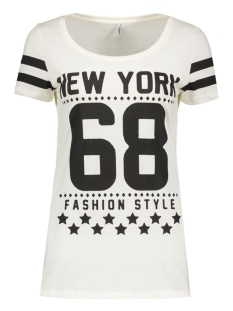 Only T-shirt onlNEW JOLI S/S TOP BOX ESS 15135915 Cloud dancer/New York