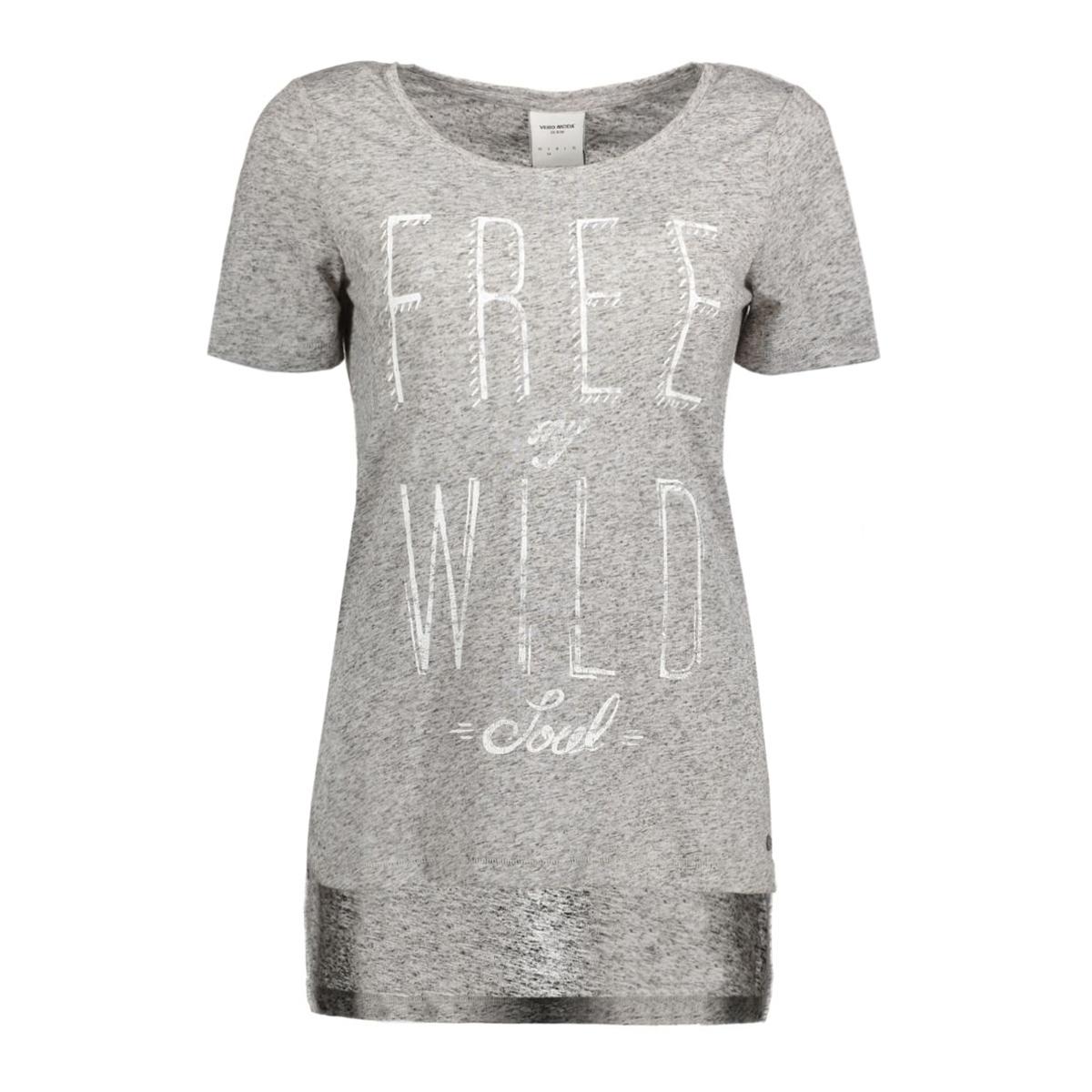 vmcharlotte wild ss slit top 10165535 vero moda t-shirt light grey mela