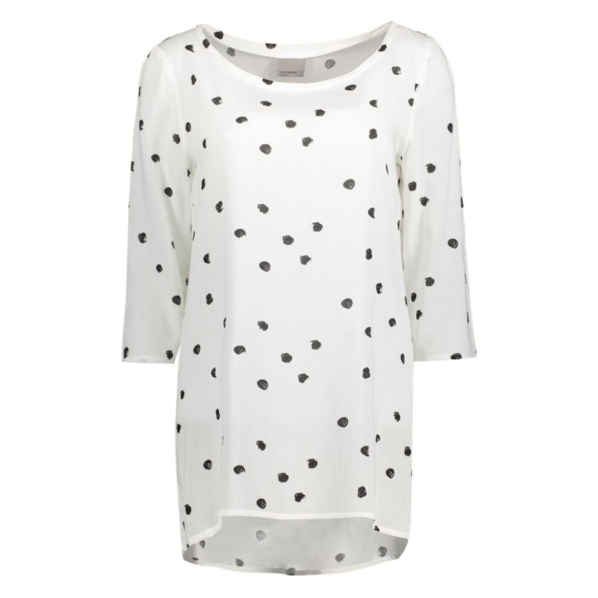 vmdottie long 3/4 top nfs 10175178 vero moda t-shirt snow white/black dot
