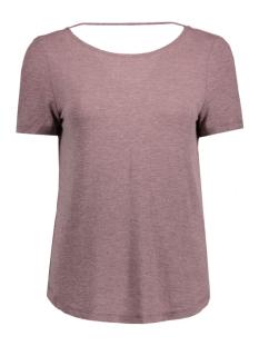 Vila T-shirt VISILLA MELANGE S/S TOP 14038975 Tawny Port/Melange