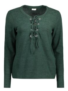 Jacqueline de Yong T-shirt JDYXSOFIE L/S LACE UP TOP PG JRS 15130124 Scarab