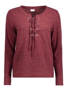 Jacqueline de Yong T-shirt JDYXSOFIE L/S LACE UP TOP PG JRS 15130124 Windsor Wine