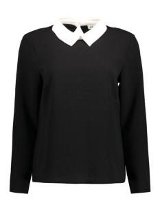 onlTURNER L/S COLLAR TOP WVN 15133097 Black