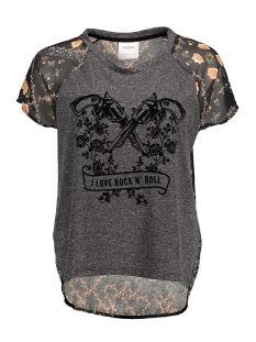 Vero Moda T-shirt VMLUCY LIL SS WIDE MIX TOP BOX DNM 10164701 Black/ Bloemen