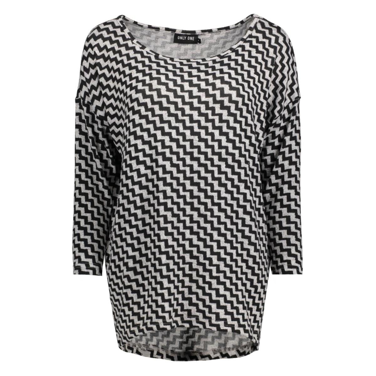 onlelcos anne 4/5 top jrs 15133165 only t-shirt light grey/ black