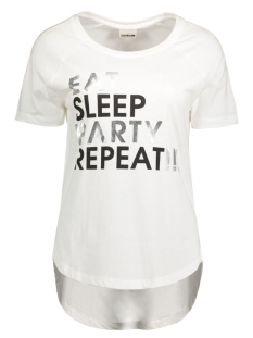 Noisy may T-shirt NMPETER S/S TOP 10164342 Bright White/Eat Sleep