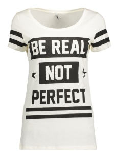 Only T-shirt onlNEW JOLI S/S TOP BOX ESS 15135915 Cloud Dancer/Be Real