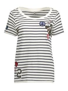 Only T-shirt onlKITA S/S LOLLIPOP/FLOW TOP BOX E 15134204 Cloud Dancer/Lollipop