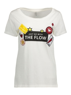 Only T-shirt onlKITA S/S LOLLIPOP/FLOW TOP BOX E 15134204 Cloud Dancer/Flow