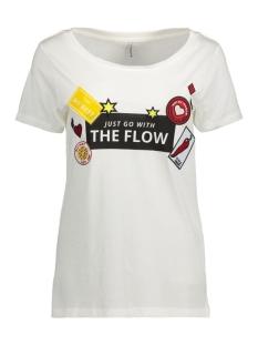 Only T-shirt onlKITA S/S LOLLIPOP/FLOW TOP BOX E 15134204 Cloud Dancer/Flow