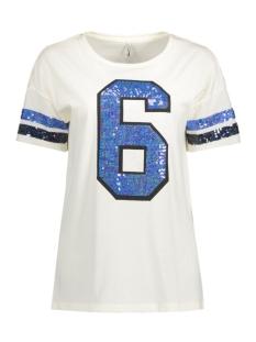 Only T-shirt onlCOUNT S/S SPARKLE TOP ESS 15134424 Cloud Dancer