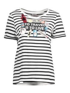 Vero Moda T-shirt VMWILLY PATCH S/S T-SHIRT BOX NFS 10177798 Snow White/ Stripe