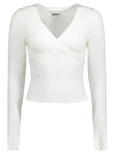 Noisy may Trui NMLOOK L/S KNIT TOP X - REP. 10165632 Bright White