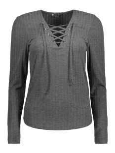 onlCOOL RIPSI LACE UP L/S TOP JRS 15138013 Dark Grey Melange