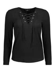 Only T-shirt onlCOOL RIPSI LACE UP L/S TOP JRS 15138013 Black