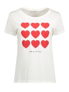 Only T-shirt onlCOTTON S/S REGULAR PRINT TOP BOX 15129033 Cloud Dancer/Hearts