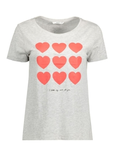 Only T-shirt onlCOTTON S/S REGULAR PRINT TOP BOX 15129033 Light Grey Mela/Hearts
