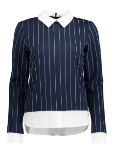 Vero Moda Trui VMGABRIELLE L/S PIN STRIPE TOP NFS 10171332 Black Iris/Light Blue