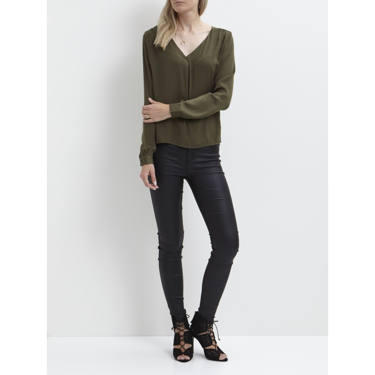 vimelli l/s new top-noos 14036767 vila blouse ivy green