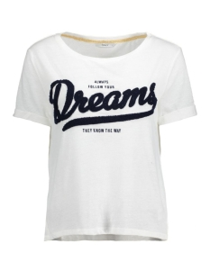 Only T-shirt onlTINA S/S DREAMS/PERFECT TOP BOX 15129113 Cloud Dancer