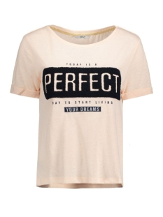 Only T-shirt onlTINA S/S DREAMS/PERFECT TOP BOX 15129113 Peachy Keen