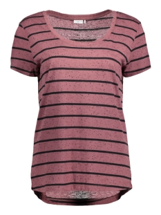 Jacqueline de Yong T-shirt JDYCOAST S/S STRIPE TOP JRS 15127261 Rose Brown/Black