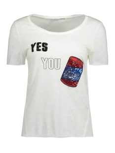 Only T-shirt onlTANIA S/S CAN/HEART TOP BOX ESS 15133481 Cloud dancer