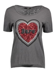 Only T-shirt onlTANIA S/S CAN/HEART TOP BOX ESS 15133481 Blackened Pearl/Heart