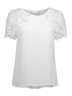 Vila T-shirt VIMELLI BLOCKED LACE TOP-NOOS 14040960 Cloud Dancer