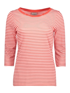 Vero Moda T-shirt VMMARLEY STRIPE 3/4 TOP NOOS 10170356 Snow White/ Poppy Red
