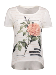 Only T-shirt onlRHINA S/S ROSE/CITY TOP BOX ESS 15133534 Cloud Dancer/Rose